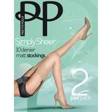 Pretty Polly Simply Sheer 10 Denier Sherry Matt Stockings (2 Pack)