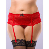 Lovehoney Plus Size Love Me Lace Deep Suspender Belt Red