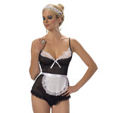 Escante Underwired Sheer French Maid Teddy Set