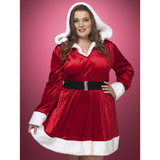 Plus Size Hooded Sexy Santa Dress with Belt