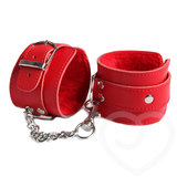 Bondage Boutique Leather Pleasure Handcuffs Red