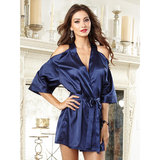 Dreamgirl Satin Kimono Robe with Open Shoulders
