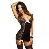 Dreamgirl Stretch Lace Fitted Sexy Chemise Set