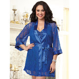 Dreamgirl Plus Size Sapphire Satin and Lace Chemise and Robe Set