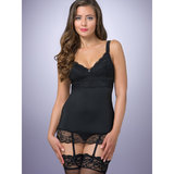 Lovehoney Adore Me Lace & Microfibre Chemise Set Black