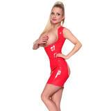 Sexy Latex Red Underbust Spanking Dress with Soft Lining