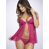 Lovehoney Tempt Me Dot Mesh Underwired Flyaway Babydoll Set