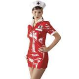 Black Level PVC Zip Front Sexy Nurse Mini Dress