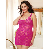 Dreamgirl Plus Size Hot Pink Sheer Lace Mini Dress