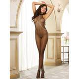 Dreamgirl Crotchless Fishnet Halter Bodystocking with Chains