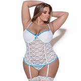 Exposed Luv Plus Size weißes Bustier aus Spitze mit Tanga