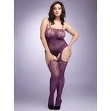 Lovehoney Plus Size Plum Fishnet and Lace Bodystocking