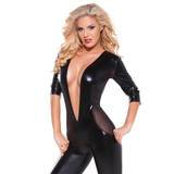 Kitten by Allure Fetishwear Wet Look and Mesh Deep V Plunge Catsuit