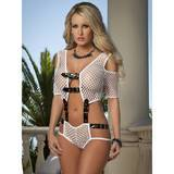 G World Opulent Fishnet and Buckle Teddy White