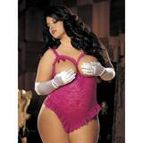 Shirley of Hollywood Plus Size Crotchless Raspberry Underwired Open Cup Teddy