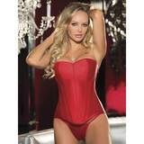 Shirley of Hollywood Plus Size Red Satin Corset with Side Zip