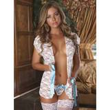 Exposed Luv Floral Lace Short Robe Set White
