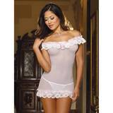 Dreamgirl Off The Shoulder Sheer Mesh and Ruffle Lace Chemise