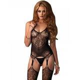 Leg Avenue Seamless Lace Jacquard Net Garter Bodystocking