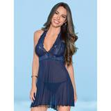 Escante Navy Lace and Mesh Halter Babydoll