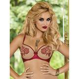 Roza Nude & Red Embroidered Push-Up Underwired Bra