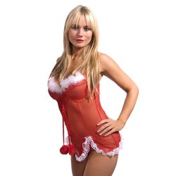 Sensual Mystique Santa Babydoll and Thong