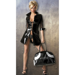 Allure Leather Patent and Mesh Lace Up Dress