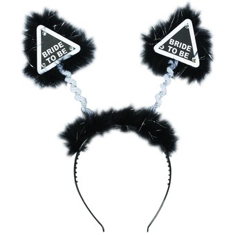 Warning Bride to Be Black and Silver Fluffy Boppers