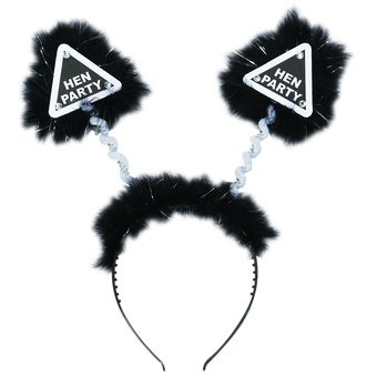 Warning Hen Party Black and Silver Fluffy Boppers