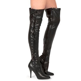 Pleaser Seduce Thigh High Lace Up Boots