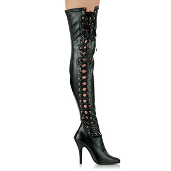 Seduce Thigh High Lace Up Boots