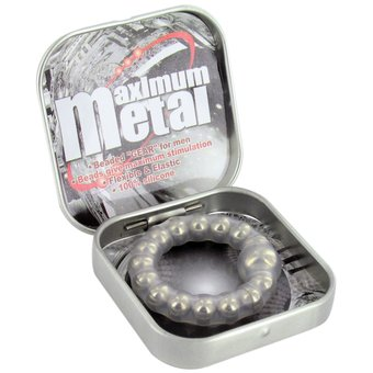 Maximum Metal Beaded Silicone Cock Ring
