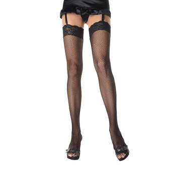 Leg Avenue Fishnet Thigh Highs with Stretch Lace Top