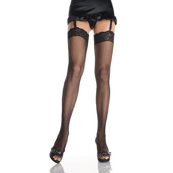 Leg Avenue Plus Size Fishnet Thigh Highs with Stretch Lace Top