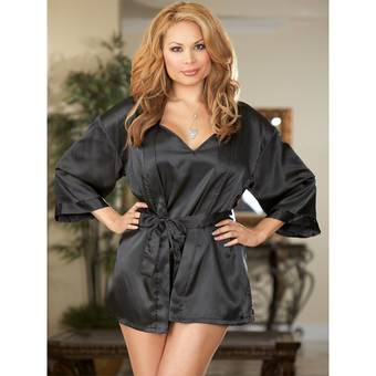 Dreamgirl Plus Size Charmeuse Chemise and Robe