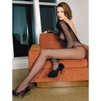 Music Legs V Back Long Sleeve Crotchless Bodystocking