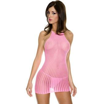 Music Legs Crochet Halter Neck Mini Dress