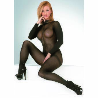 Mandy Mystery Sheer High Neck Crotchless Catsuit