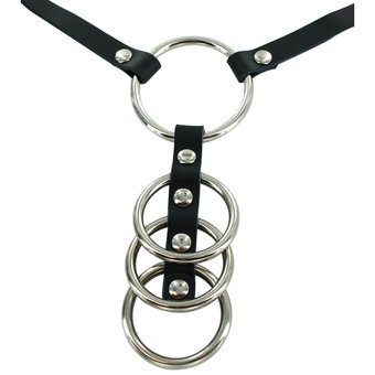 Bondage Boutique Four Ring Steel Cock Ring with Leather Strap
