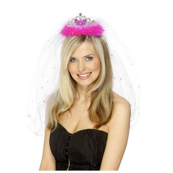 Bride To Be Fluffy Hen Party Tiara and Veil