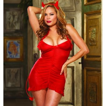 Dreamgirl Red Diamond Plus Size Sinner's Paradise 3-Piece Baby Doll Set