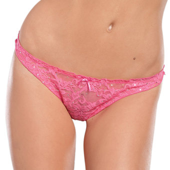 Seven Til Midnight Lace Thong with Glitter Detailing