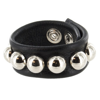 Bondage Boutique Leather Studded Adjustable Cock and Ball Ring