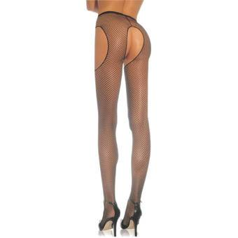 Leg Avenue Plus Size Fishnet Crotchless Suspender Tights