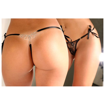 Sensualle Lacada Lace Tie-Side G-String with Silver Fall