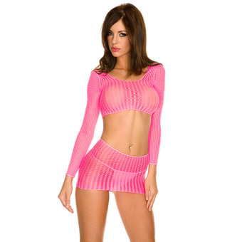Music Legs Crochet Seamless Long-Sleeved Top and Skirt Set