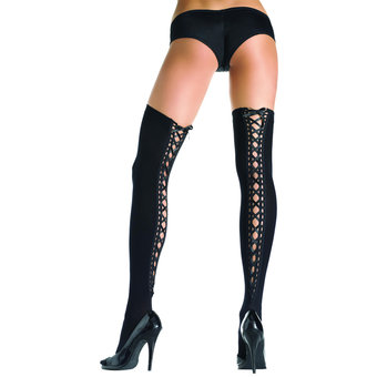 Leg Avenue Opaque Spandex Hold-Up Stockings with Eyelet Trim