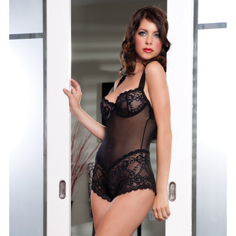 Seven Til Midnight Bonjour Lace and Mesh Teddy