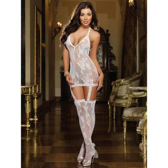 Dreamgirl Stretch Lace Halter Dress Set