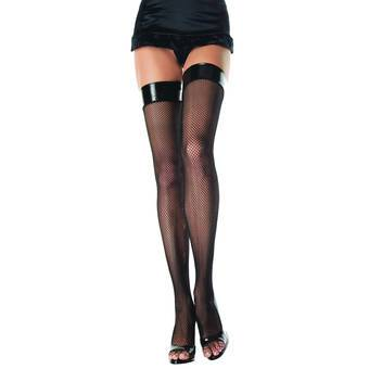 Music Legs Fishnet Stockings with PVC Top